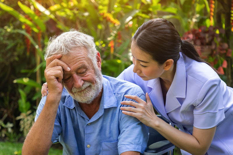 UConn Online Dementia Care Graduate certificate, care giver consoling dementia patient.